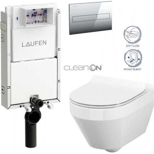 LAUFEN Podomít. systém LIS TW1 SET s chromovým tlačítkem + WC CERSANIT CLEANON CREA OVÁL + SEDÁTKO (H8946630000001CR CR1)