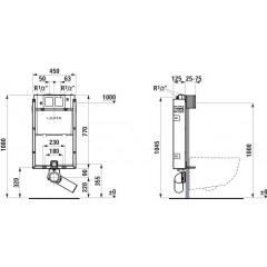 LAUFEN Podomít. systém LIS TW1 SET s chromovým tlačítkem + WC CERSANIT CLEANON CREA čtverec + SEDÁTKO H8946630000001CR CR2