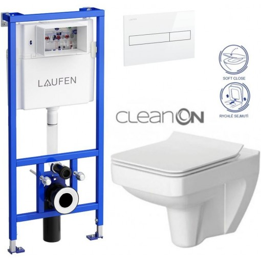 LAUFEN Rámový podomítkový modul CW1 SET s bílým tlačítkem + WC CERSANIT CLEANON SPLENDOUR + SEDÁTKO H8946600000001BI SP1