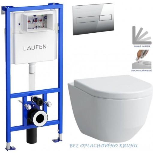 LAUFEN - Rámový podomítkový modul CW1 SET + ovládací tlačítko CHROM + WC LAUFEN PRO RIMLESS + SEDÁTKO (H8946600000001CR LP1)