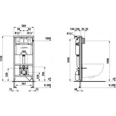LAUFEN - Rámový podomítkový modul CW1 SET + ovládací tlačítko CHROM + WC CERSANIT PARVA CLEANON + SEDÁTKO (H8946600000001CR PA1)