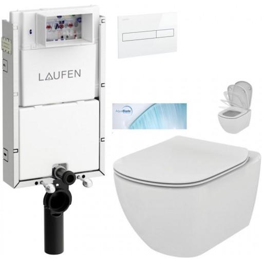 LAUFEN - Podomít. systém LIS TW1 SET BÍLÁ + ovládací tlačítko BÍLÉ + WC TESI se sedátkem SoftClose, AquaBlade (H8946630000001BI TE1)