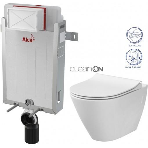 ALCAPLAST Renovmodul - předstěnový instalační systém bez tlačítka + WC CERSANIT CLEANON CITY AM115/1000 X CI1