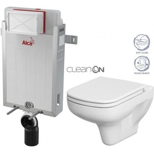 ALCAPLAST Renovmodul - předstěnový instalační systém bez tlačítka + WC CERSANIT CLEANON COLOUR + SEDÁTKO (AM115/1000 X CN1)