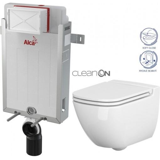 ALCAPLAST - SET Renovmodul - předstěnový instalační systém + WC CERSANIT CLEANON CASPIA + SEDÁTKO (AM115/1000 X CP1)