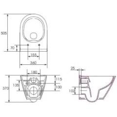 ALCAPLAST - Renovmodul - předstěnový instalační systém + tlačítko M1710 + WC CERSANIT CLEANON CITY + SEDÁTKO (AM115/1000 M1710 CI1)