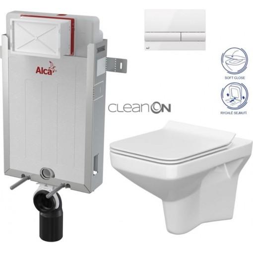 ALCAPLAST - Renovmodul - předstěnový instalační systém + tlačítko M1710 + WC CERSANIT CLEANON COMO + SEDÁTKO (AM115/1000 M1710 CO1)