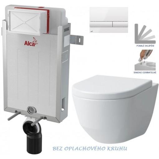 ALCAPLAST - Renovmodul - předstěnový instalační systém + tlačítko M1710 + WC LAUFEN PRO RIMLESS + SEDÁTKO (AM115/1000 M1710 LP1)