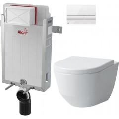 ALCAPLAST - SET Renovmodul - předstěnový instalační systém + tlačítko M1710 + WC LAUFEN PRO LCC RIMLESS + SEDÁTKO (AM115/1000 M1710 LP2)