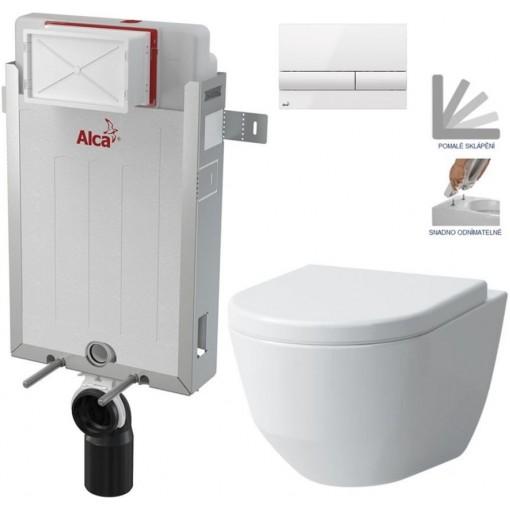 ALCAPLAST - Renovmodul - předstěnový instalační systém + tlačítko M1710 + WC LAUFEN PRO + SEDÁTKO (AM115/1000 M1710 LP3)
