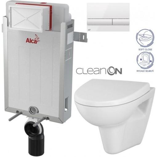 ALCAPLAST - SET Renovmodul - předstěnový instalační systém + tlačítko M110 + WC CERSANIT CLEANON PARVA + SEDÁTKO (AM115/1000 M1710 PA1)