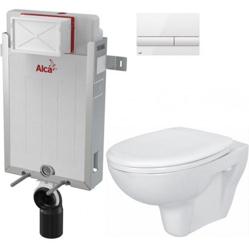ALCAPLAST - SET Renovmodul - předstěnový instalační systém + tlačítko M1710 + WC CERSANIT PRESIDENT + SEDÁTKO (AM115/1000 M1710 PR1)