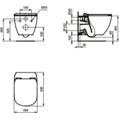 ALCAPLAST Renovmodul - předstěnový instalační systém s bílým tlačítkem M1710 + WC Ideal Standard Tesi se sedátkem SoftClose, AquaBlade AM115/1000 M1710 TE1