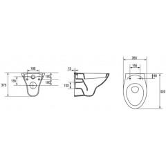 ALCAPLAST - SET Renovmodul - předstěnový instalační systém + tlačítko M1720-1 + WC CERSANIT ARES + SEDÁTKO (AM115/1000 M1720-1 AR1)