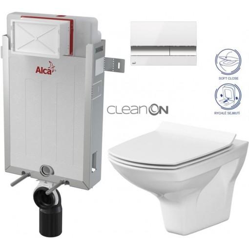 ALCAPLAST - Renovmodul - předstěnový instalační systém + tlačítko M1720-1 + WC CERSANIT CLEANON CARINA + SEDÁTKO (AM115/1000 M1720-1 CA3)