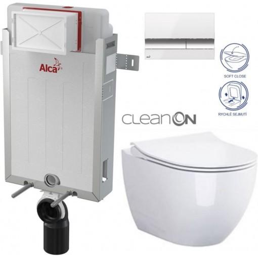 ALCAPLAST - Renovmodul - předstěnový instalační systém + tlačítko M1720-1 + WC CERSANIT CLEANON URBAN HARMONY + SEDÁTKO (AM115/1000 M1720-1 HA1)