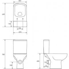CERSANIT - WC KOMBI 572 COLOUR NEW CLEANON 010 3/5 BEZ SEDÁTKA (K103-026)