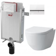 ALCAPLAST - Renovmodul - předstěnový instalační systém + tlačítko M1720-1 + WC LAUFEN PRO LCC RIMLESS + SEDÁTKO (AM115/1000 M1720-1 LP2)