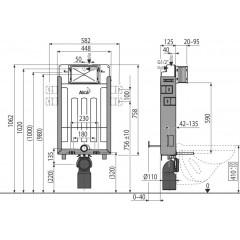 ALCAPLAST - SET Renovmodul - předstěnový instalační systém + tlačítko M1720-1 + WC CERSANIT CLEANON PARVA + SEDÁTKO (AM115/1000 M1720-1 PA1)