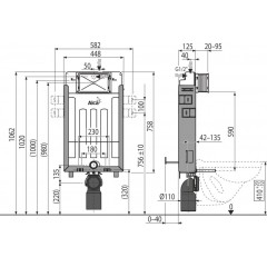 ALCAPLAST - SET Renovmodul - předstěnový instalační systém + tlačítko M1720-1 + WC CERSANIT CLEANON PARVA + SEDÁTKO (AM115/1000 M1720-1 PA2)
