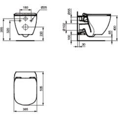 ALCAPLAST - SET Renovmodul - předstěnový instalační systém + tlačítko M1720-1 + WC TESI se sedátkem SoftClose, AquaBlade (AM115/1000 M1720-1 TE1)