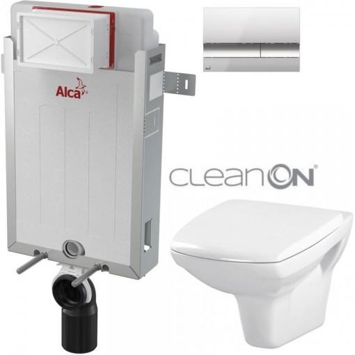 ALCAPLAST - SET Renovmodul - předstěnový instalační systém + tlačítko M1721 + WC CERSANIT CLEANON CARINA + SEDÁTKO (AM115/1000 M1721 CA1)