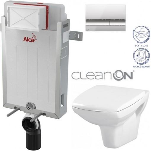 ALCAPLAST - SET Renovmodul - předstěnový instalační systém + tlačítko M1721 + WC CERSANIT CLEANON CARINA + SEDÁTKO (AM115/1000 M1721 CA2)