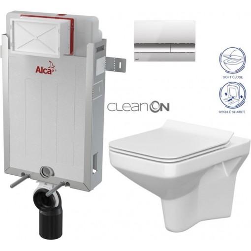 ALCAPLAST - SET Renovmodul - předstěnový instalační systém + tlačítko M1721 + WC CERSANIT CLEANON COMO + SEDÁTKO (AM115/1000 M1721 CO1)
