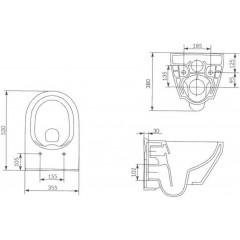 ALCAPLAST - Renovmodul - předstěnový instalační systém + tlačítko M1721 + WC CERSANIT CLEANON CREA OVÁL + SEDÁTKO (AM115/1000 M1721 CR1)