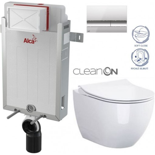 ALCAPLAST - SET Renovmodul - předstěnový instalační systém + tlačítko M1721 + WC OPOCZNO CLEANON URBAN HARMONY + SEDÁTKO (AM115/1000 M1721 HA1)
