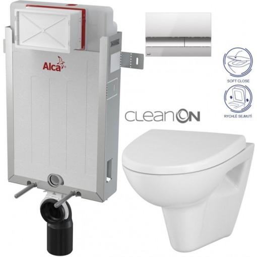 ALCAPLAST - SET Renovmodul - předstěnový instalační systém + tlačítko M1721 + WC CERSANIT CLEANON PARVA + SEDÁTKO (AM115/1000 M1721 PA1)