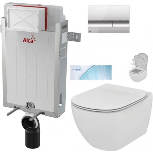 ALCAPLAST Renovmodul - předstěnový instalační systém s chromovým tlačítkem M1721 + WC Ideal Standard Tesi se sedátkem SoftClose, AquaBlade (AM115/1000 M1721 TE1)