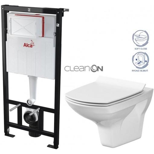 ALCAPLAST Sádromodul - předstěnový instalační systém bez tlačítka + WC CERSANIT CLEANON CARINA + SEDÁTKO (AM101/1120 X CA3)