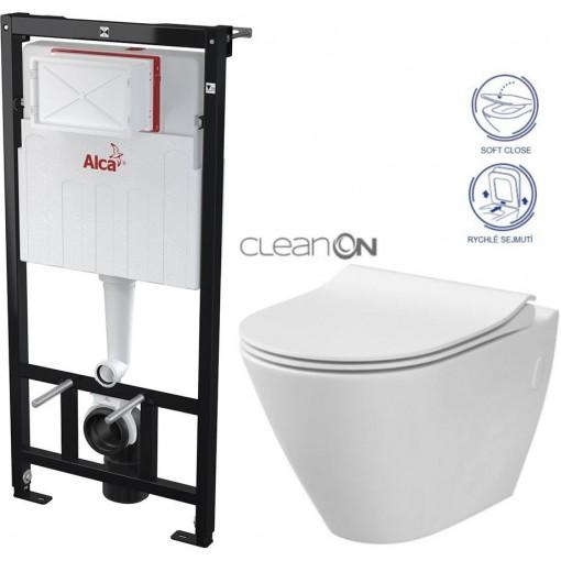 ALCAPLAST Sádromodul - předstěnový instalační systém bez tlačítka + WC CERSANIT CLEANON CITY (AM101/1120 X CI1)