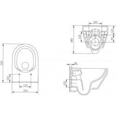 ALCAPLAST - Sádromodul - předstěnový instalační systém určený pro suchou instalaci 1,2 m + WC CERSANIT CLEANON CREA OVÁL + SEDÁTKO (AM101/1120 X CR1)