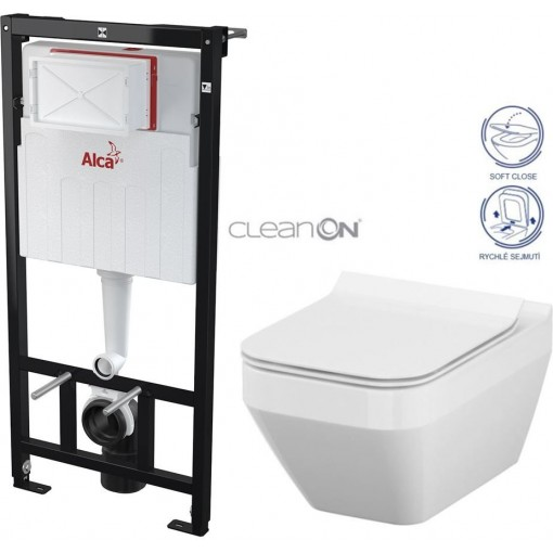 ALCAPLAST - SET Sádromodul - předstěnový instalační systém určený pro suchou instalaci 1,2 m + WC CERSANIT CLEANON CREA ČTVEREC + SEDÁTKO (AM101/1120 X CR2)