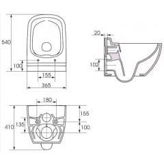 ALCAPLAST - SET Sádromodul - předstěnový instalační systém + tlačítko M1720-1 + WC CERSANIT CLEANON CASPIA + SEDÁTKO (AM101/1120 M1720-1 CP1)