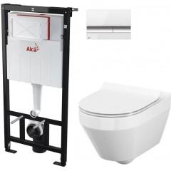 ALCAPLAST Sádromodul - předstěnový instalační systém s bílým/ chrom tlačítkem M1720-1 + WC CERSANIT CLEANON CREA OVÁL + SEDÁTKO (AM101/1120 M1720-1 CR1)