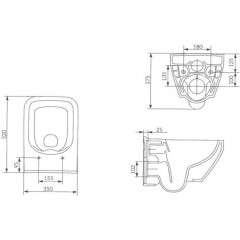 ALCAPLAST - Sádromodul - předstěnový instalační systém + tlačítko M1720-1 + WC CERSANIT CLEANON CREA ČTVEREC +SEDÁTKO (AM101/1120 M1720-1 CR2)