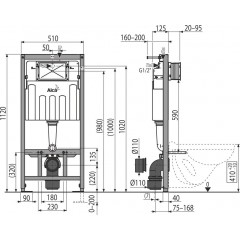 ALCAPLAST - Sádromodul - předstěnový instalační systém + tlačítko M1721 + WC CERSANIT ARES (AM101/1120 M1721 AR1)