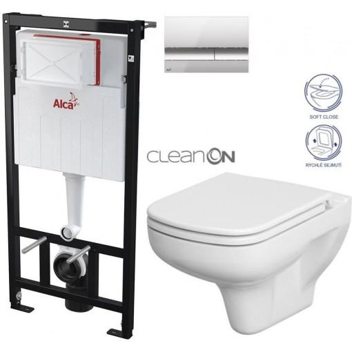 ALCAPLAST - Sádromodul - předstěnový instalační systém + tlačítko M1721 + WC CERSANIT CLEANON COLOUR + SEDÁTKO (AM101/1120 M1721 CN1)