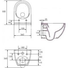 ALCAPLAST - SET Sádromodul - předstěnový instalační systém + tlačítko M1721 + WC OPOCZNO CLEANON URBAN HARMONY + SEDÁTKO (AM101/1120 M1721 HA1)