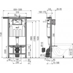 ALCAPLAST - SET Jádromodul - předstěnový instalační systém + tlačítko M1710 + WC CERSANIT ARES + SEDÁTKO (AM102/1120 M1710 AR1)
