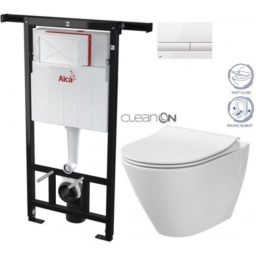 ALCAPLAST Jádromodul - předstěnový instalační systém s bílým tlačítkem M1710 + WC CERSANIT CLEANON CITY AM102/1120 M1710 CI1