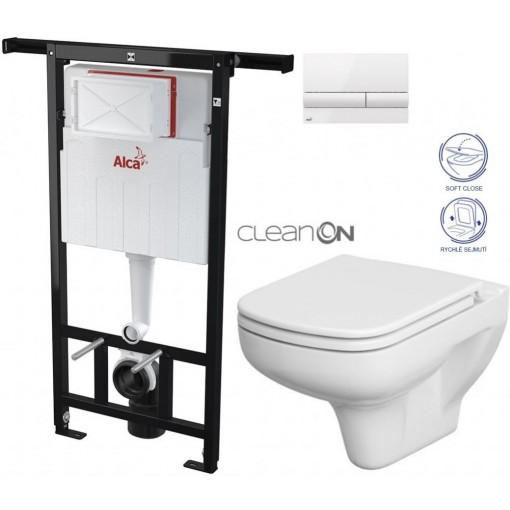 ALCAPLAST - SET Jádromodul - předstěnový instalační systém + tlačítko M1710 + WC CERSANIT CLEANON COLOUR + SEDÁTKO (AM102/1120 M1710 CN1)