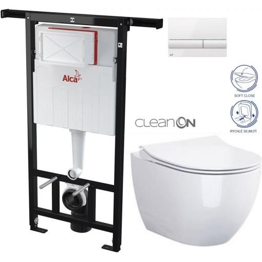 ALCAPLAST - Jádromodul - předstěnový instalační systém + tlačítko M1710 + WC OPOCZNO CLEANON URBAN HARMONY + SEDÁTKO (AM102/1120 M1710 HA1)