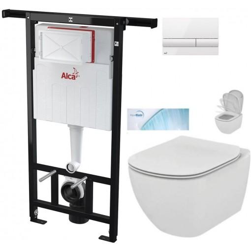 ALCAPLAST Jádromodul - předstěnový instalační systém s bílým tlačítkem M1710 + WC Ideal Standard Tesi se sedátkem SoftClose, AquaBlade (AM102/1120 M1710 TE1)