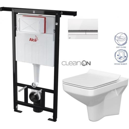 ALCAPLAST - Jádromodul - předstěnový instalační systém + tlačítko M1720-1 + WC CERSANIT CLEANON COMO + SEDÁTKO (AM102/1120 M1720-1 CO1)