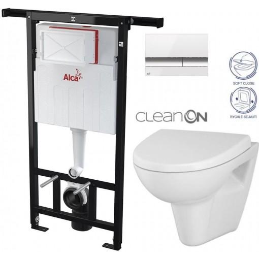 ALCAPLAST - SET Jádromodul - předstěnový instalační systém + tlačítko M1720-1 + WC CERSANIT CLEANON PARVA + SEDÁTKO (AM102/1120 M1720-1 PA1)