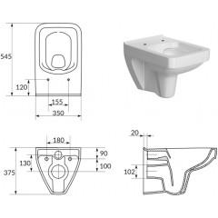 ALCAPLAST Jádromodul - předstěnový instalační systém s bílým/ chrom tlačítkem M1720-1 + WC CERSANIT CLEANON SPLENDOUR + SEDÁTKO (AM102/1120 M1720-1 SP1)